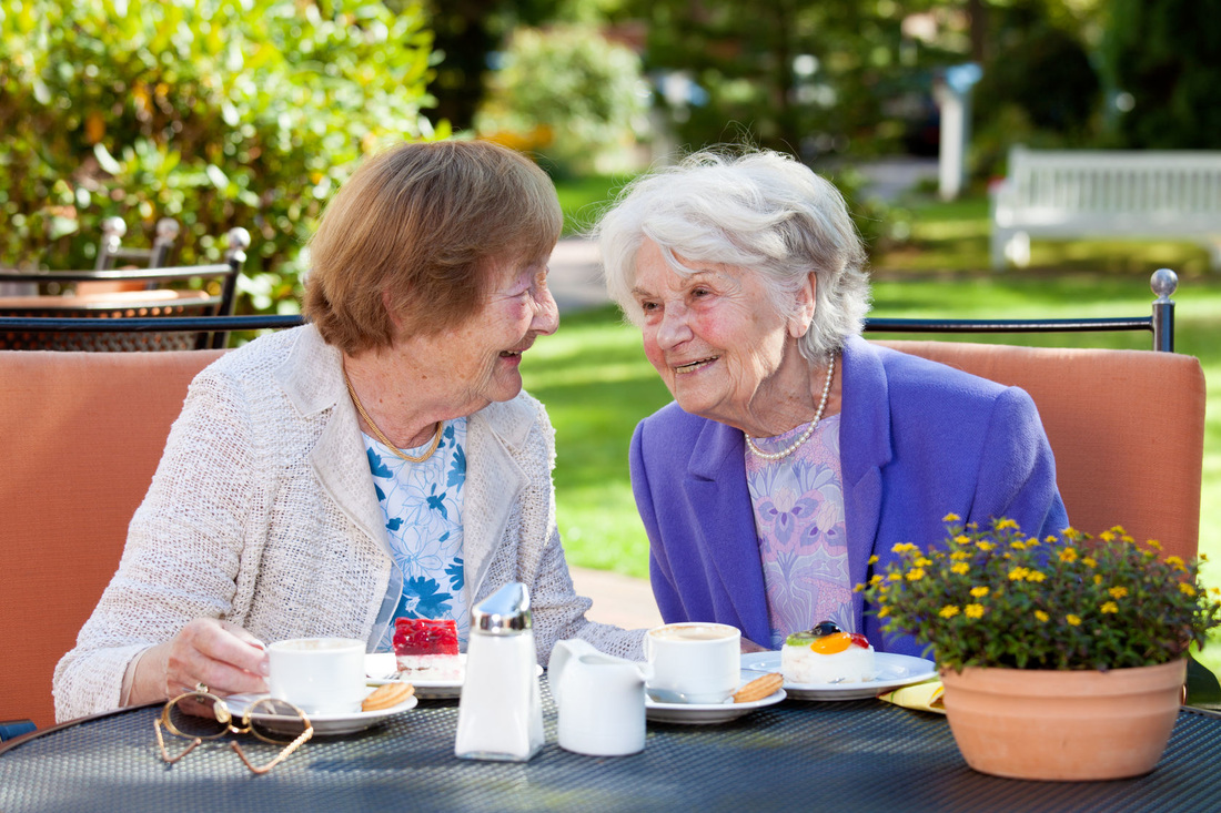 Picture of two elderly ladies enjoying a lunch outside